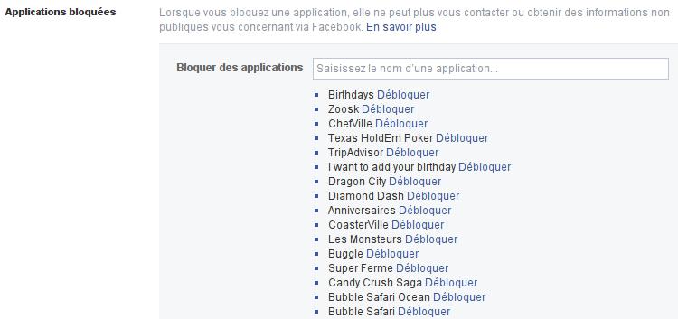 Applications Facebook bloquées
